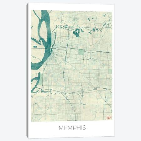 Memphis Vintage Blue Watercolor Urban Blueprint Map 3-Piece Canvas #HUR213} by Hubert Roguski Art Print