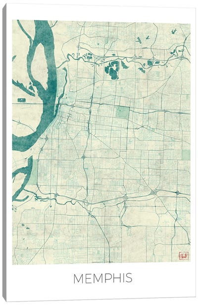 Memphis Vintage Blue Watercolor Urban Blueprint Map Canvas Art Print
