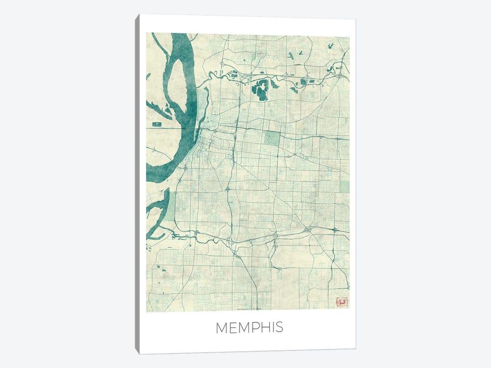 Memphis Vintage Blue Watercolor Urban Blueprint Map by Hubert Roguski 1-piece Art Print