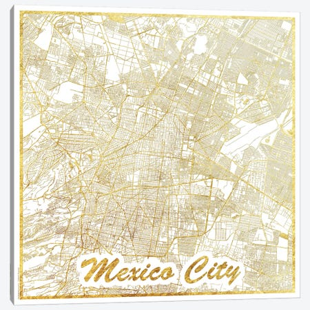 Mexico City Gold Leaf Urban Blueprint Map Canvas Print #HUR214} by Hubert Roguski Canvas Art