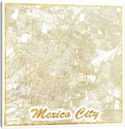 Mexico City Gold Leaf Urban Blueprint Map Canvas Art Print