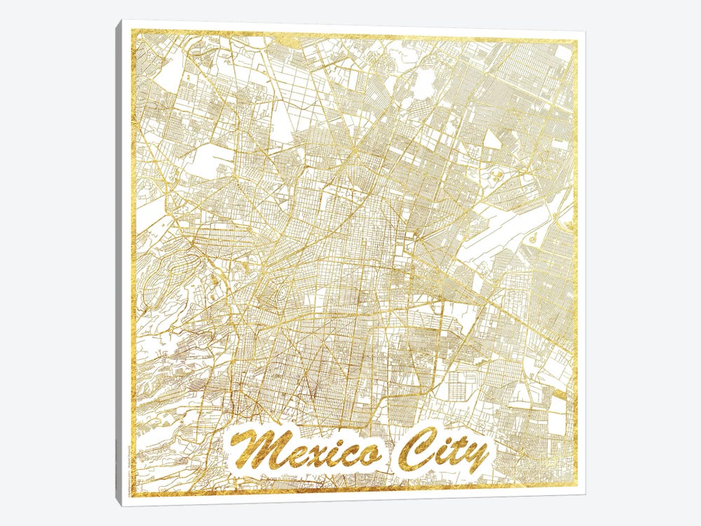 Mexico City Gold Leaf Urban Blueprint Map by Hubert Roguski 1-piece Canvas Artwork