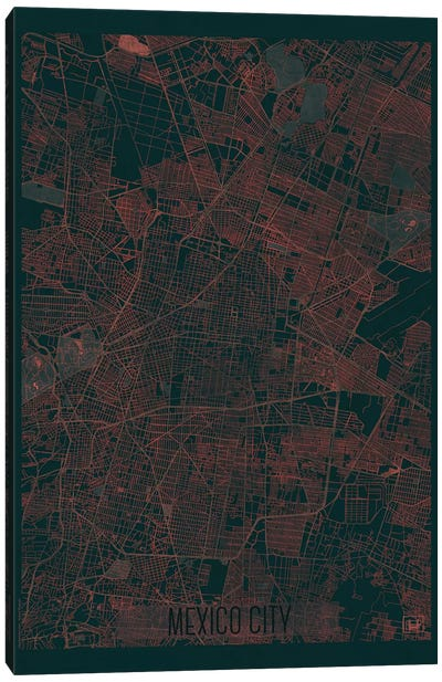 Mexico City Infrared Urban Blueprint Map Canvas Art Print