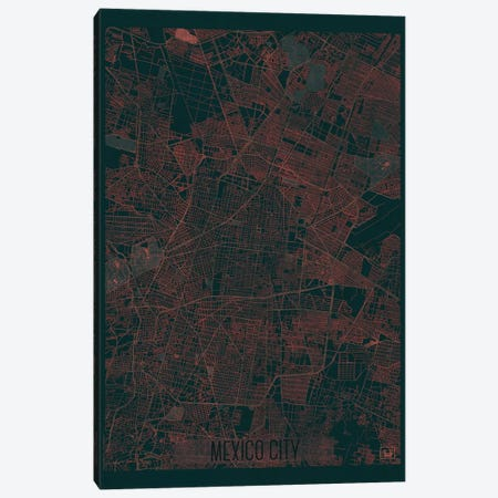 Mexico City Infrared Urban Blueprint Map 3-Piece Canvas #HUR215} by Hubert Roguski Canvas Wall Art