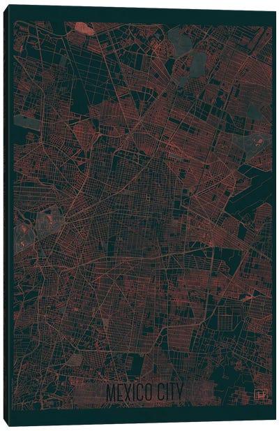 Mexico City Infrared Urban Blueprint Map Canvas Art Print