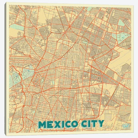 Mexico City Retro Urban Blueprint Map Canvas Print #HUR216} by Hubert Roguski Canvas Art