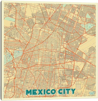 Mexico City Retro Urban Blueprint Map Canvas Art Print