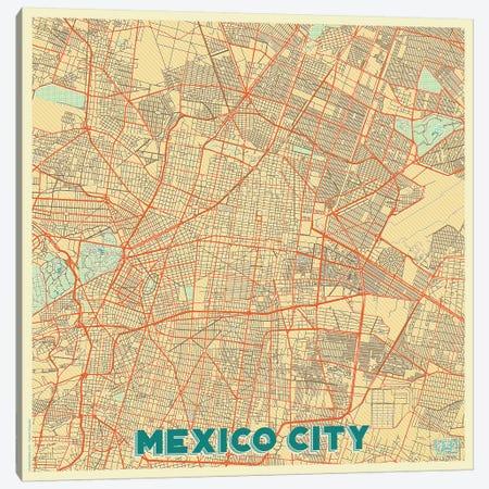 Mexico City Retro Urban Blueprint Map Canvas Print #HUR216} by Hubert Roguski Canvas Art