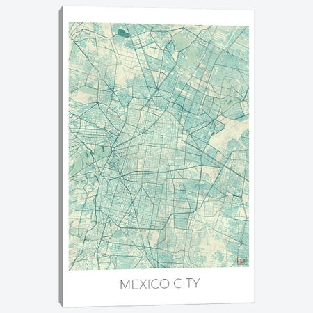 Mexico City Vintage Blue Watercolor Urban Blueprint Map Canvas Print #HUR217} by Hubert Roguski Canvas Artwork
