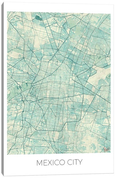 Mexico City Vintage Blue Watercolor Urban Blueprint Map Canvas Art Print