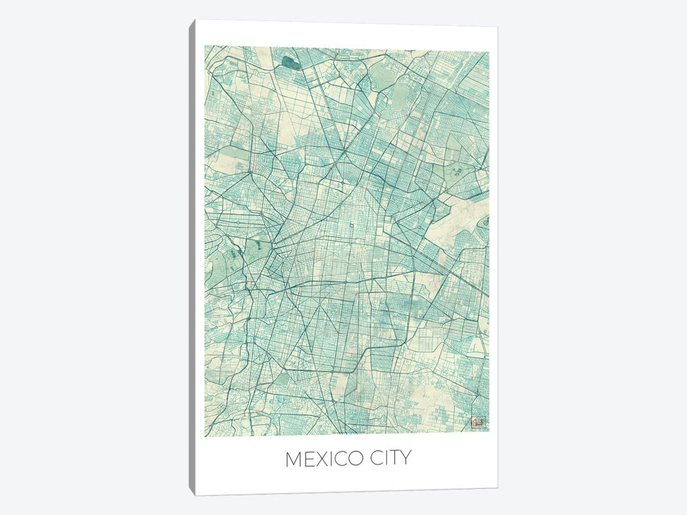 Mexico City Vintage Blue Watercolor Urban Blueprint Map 1-piece Canvas Print