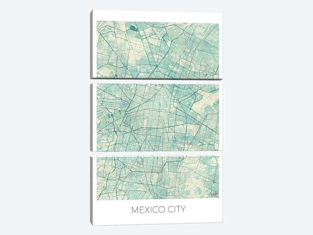 Mexico City Vintage Blue Watercolor Urban Blueprint Map 3-piece Canvas Print