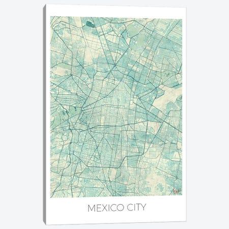 Mexico City Vintage Blue Watercolor Urban Blueprint Map 3-Piece Canvas #HUR217} by Hubert Roguski Canvas Artwork