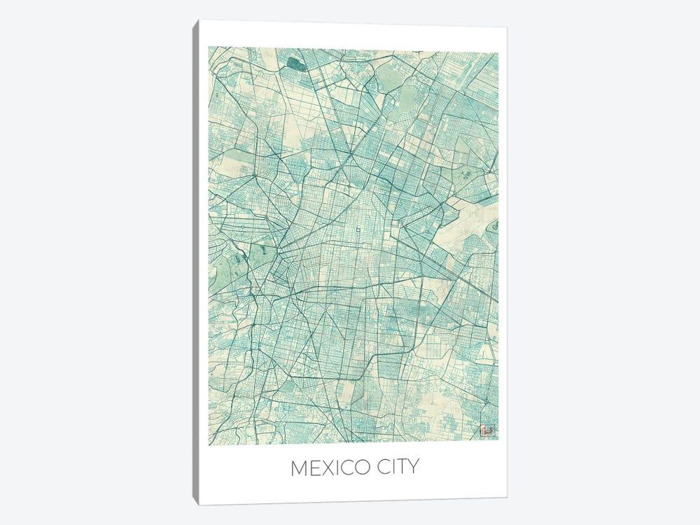 Mexico City Vintage Blue Watercolor Urban Blueprint Map by Hubert Roguski 1-piece Canvas Print