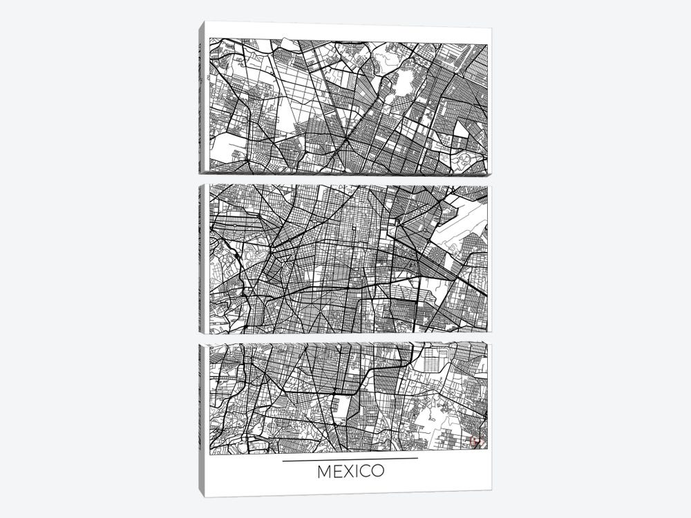 Mexico Minimal Urban Blueprint Map by Hubert Roguski 3-piece Canvas Artwork