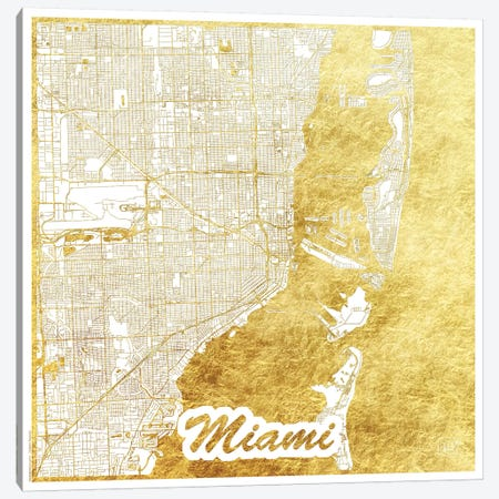 Miami Gold Leaf Urban Blueprint Map Canvas Print #HUR219} by Hubert Roguski Art Print