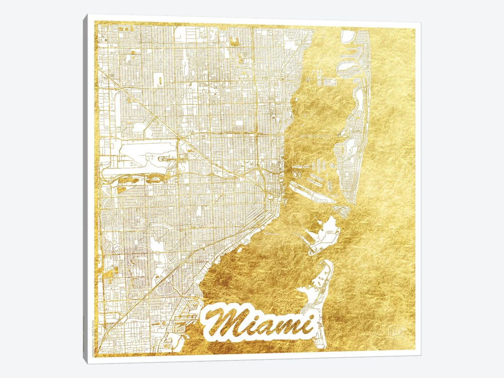 Miami Gold Leaf Urban Blueprint Map by Hubert Roguski 1-piece Art Print