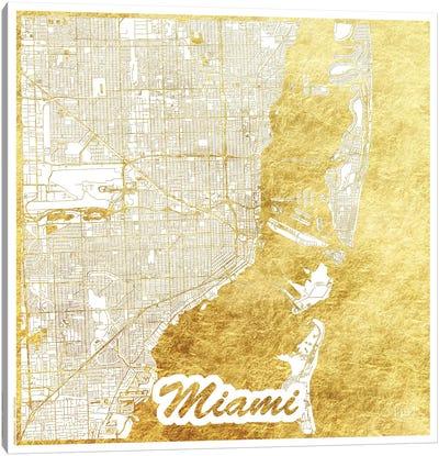 Miami Gold Leaf Urban Blueprint Map Canvas Art Print