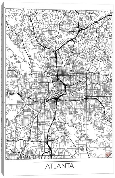 Atlanta Minimal Urban Blueprint Map Canvas Art Print
