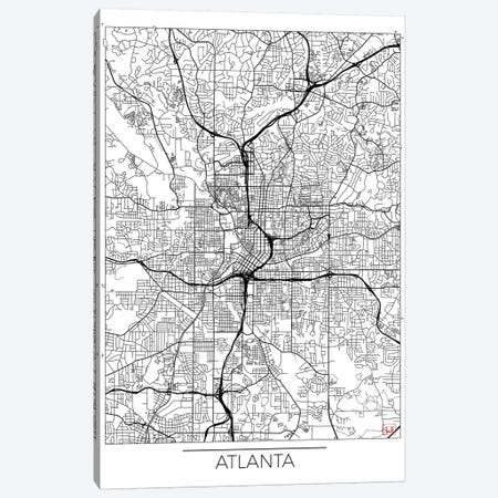 Atlanta Minimal Urban Blueprint Map 3-Piece Canvas #HUR21} by Hubert Roguski Art Print