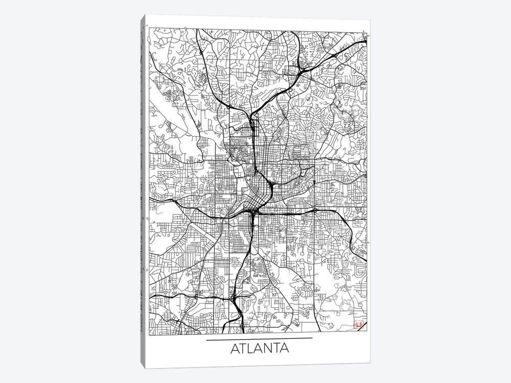 Atlanta Minimal Urban Blueprint Map by Hubert Roguski 1-piece Canvas Art Print