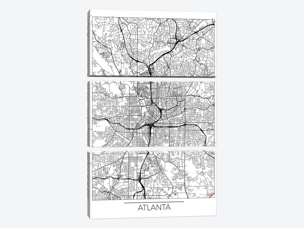Atlanta Minimal Urban Blueprint Map by Hubert Roguski 3-piece Art Print
