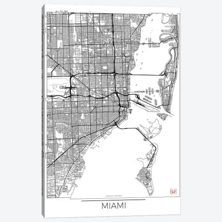 Miami Minimal Urban Blueprint Map Canvas Print #HUR220} by Hubert Roguski Canvas Art