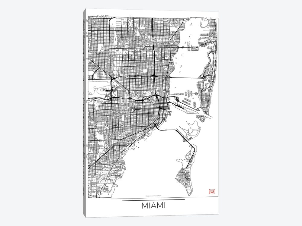 Miami Minimal Urban Blueprint Map by Hubert Roguski 1-piece Canvas Print
