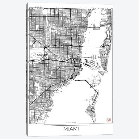Miami Minimal Urban Blueprint Map Canvas Print #HUR220} by Hubert Roguski Canvas Art