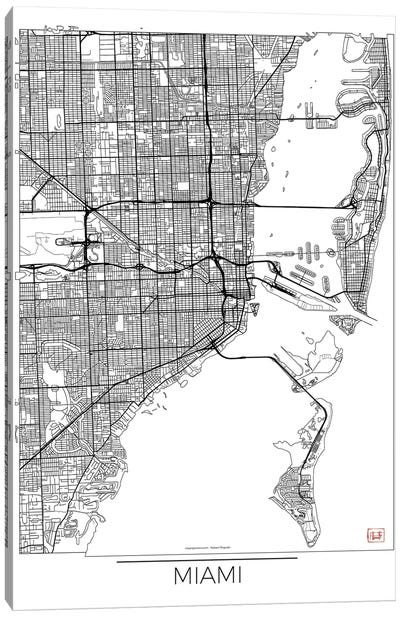 Miami Minimal Urban Blueprint Map Canvas Art Print