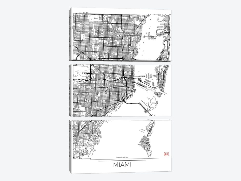 Miami Minimal Urban Blueprint Map by Hubert Roguski 3-piece Art Print