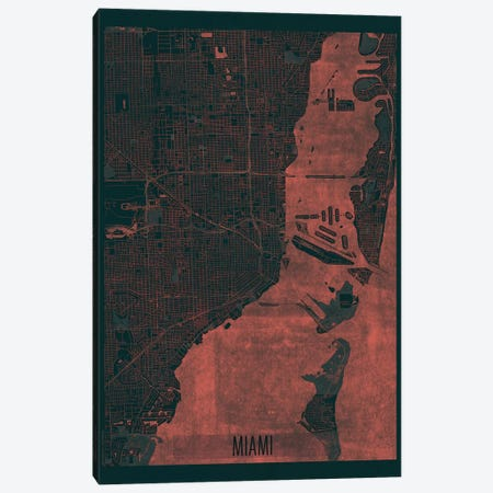 Miami Infrared Urban Blueprint Map Canvas Print #HUR221} by Hubert Roguski Canvas Art