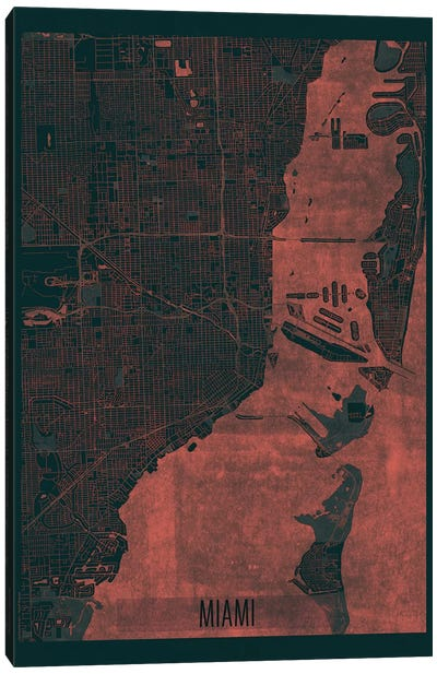 Miami Infrared Urban Blueprint Map Canvas Art Print