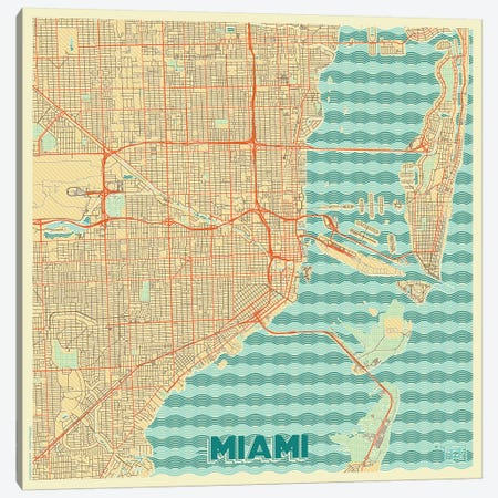 Miami Retro Urban Blueprint Map Canvas Print #HUR222} by Hubert Roguski Canvas Wall Art