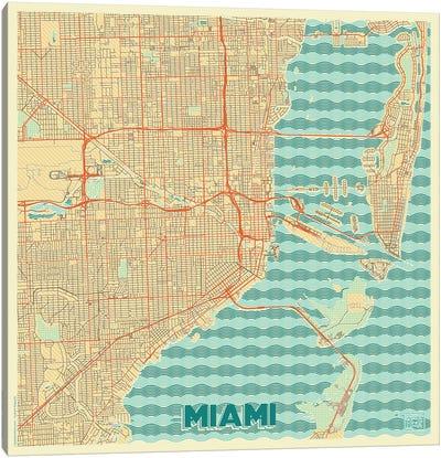 Miami Retro Urban Blueprint Map Canvas Art Print