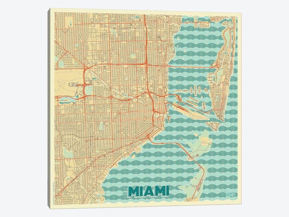 Miami Retro Urban Blueprint Map by Hubert Roguski 1-piece Canvas Print