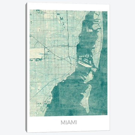 Miami Vintage Blue Watercolor Urban Blueprint Map Canvas Print #HUR223} by Hubert Roguski Canvas Artwork