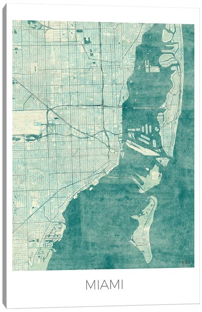 Miami Vintage Blue Watercolor Urban Blueprint Map Canvas Art Print