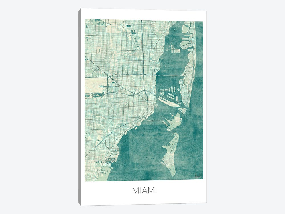 Miami Vintage Blue Watercolor Urban Blueprint Map by Hubert Roguski 1-piece Canvas Wall Art