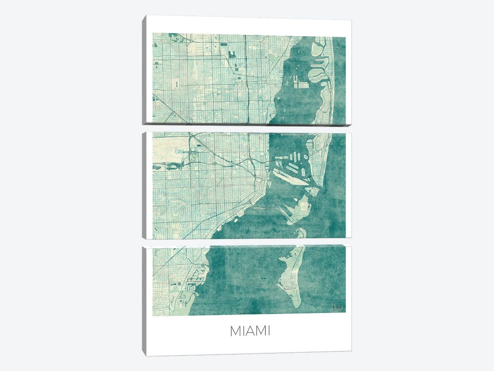 Miami Vintage Blue Watercolor Urban Blueprint Map by Hubert Roguski 3-piece Canvas Wall Art