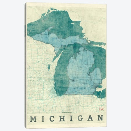 Michigan Map Canvas Print #HUR224} by Hubert Roguski Canvas Art Print