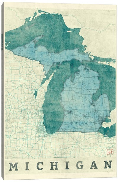 Michigan Map Canvas Art Print