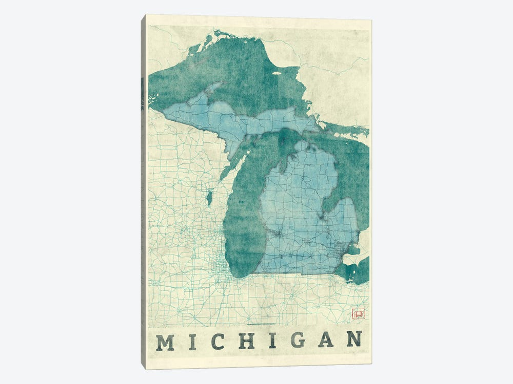 Michigan Map by Hubert Roguski 1-piece Art Print