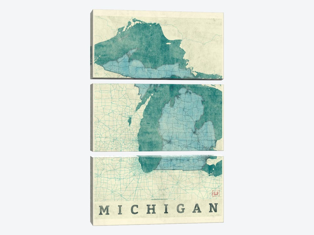 Michigan Map by Hubert Roguski 3-piece Canvas Art Print
