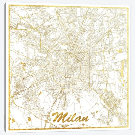 Milan Gold Leaf Urban Blueprint Map Canvas Print #HUR225} by Hubert Roguski Canvas Art Print