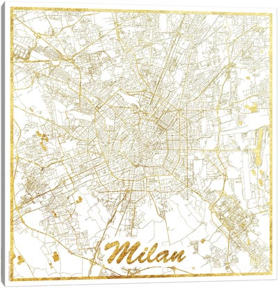 Milan Gold Leaf Urban Blueprint Map Canvas Art Print