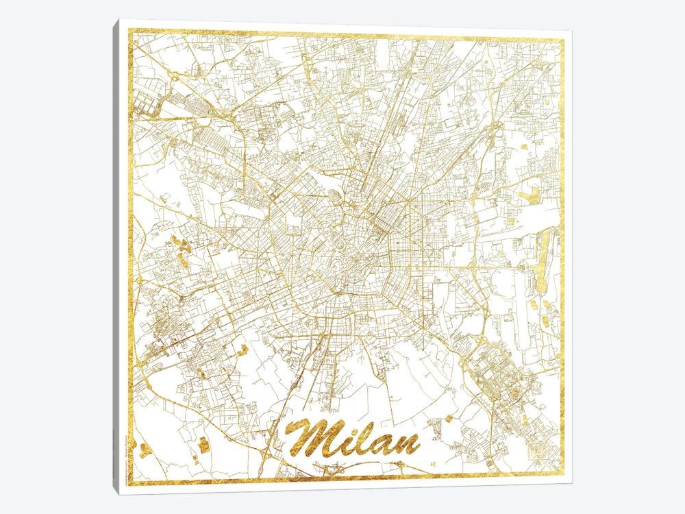 Milan Gold Leaf Urban Blueprint Map by Hubert Roguski 1-piece Canvas Wall Art