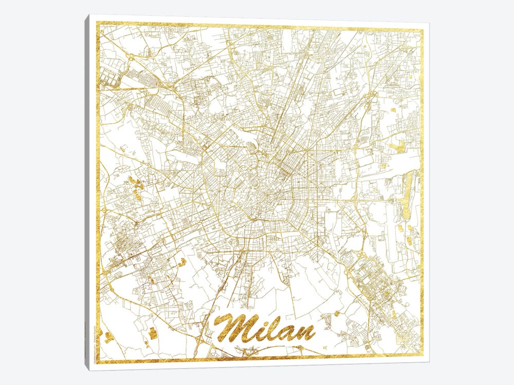 Milan Gold Leaf Urban Blueprint Map 1-piece Canvas Wall Art