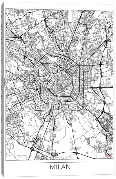 Milan Minimal Urban Blueprint Map Canvas Art Print