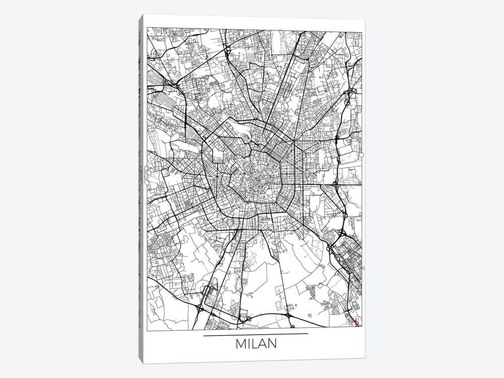 Milan Minimal Urban Blueprint Map by Hubert Roguski 1-piece Canvas Print